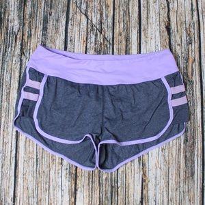 Lululemon Grey Purple Hot Yogi Running Shorts